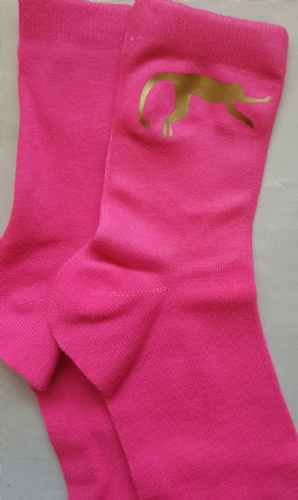 Girls cerise pink socks fun gold monkey  logo   size 12-3